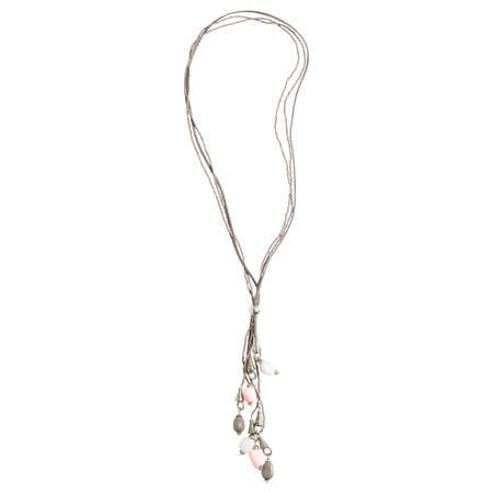 Sandwich Clothing Beaded Long Pebble Necklace - Beige