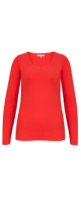 Sandwich Clothing Essentials Long Sleeve Stretch Cotton Jersey Top True Red