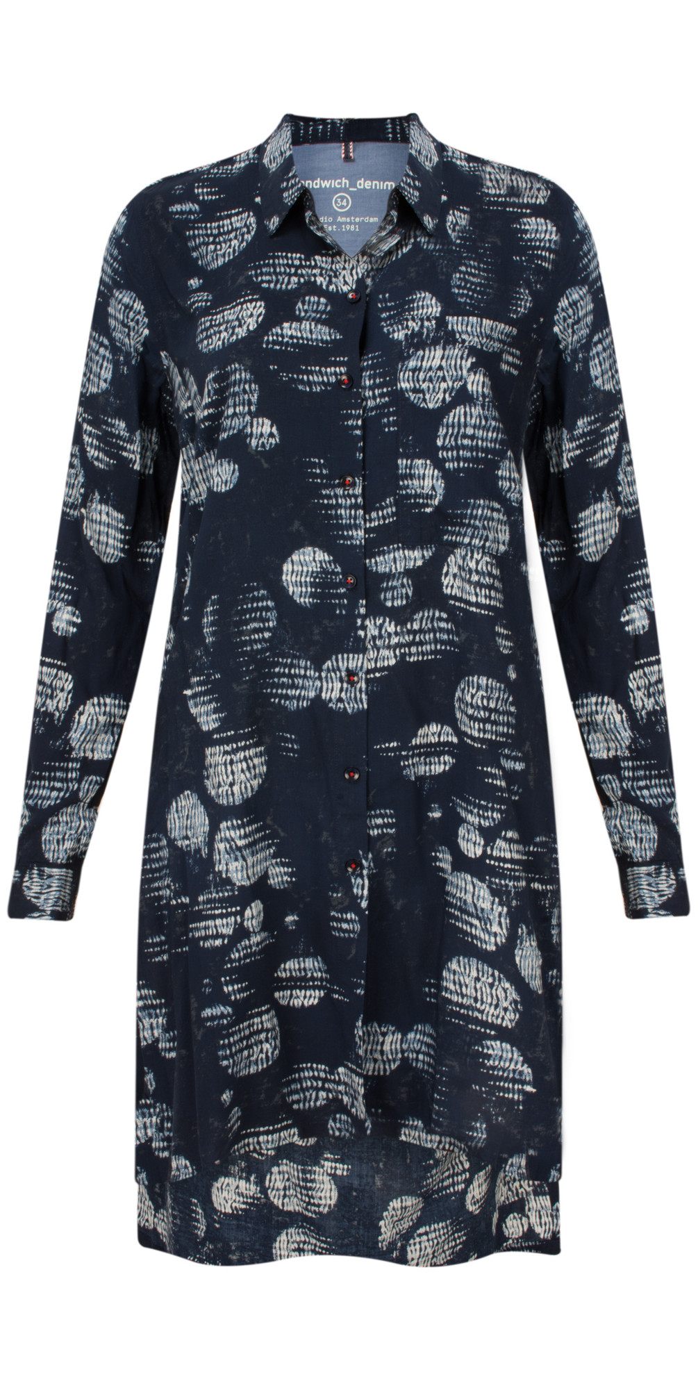 51d5474ca27 Sandwich Clothing Circle Print Tunic Blouse in Navy