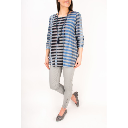 Sahara Sky Stripe Jersey Top - Blue Grey