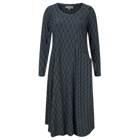 Sahara Lantern Jacquard Jersey Dress - Blue