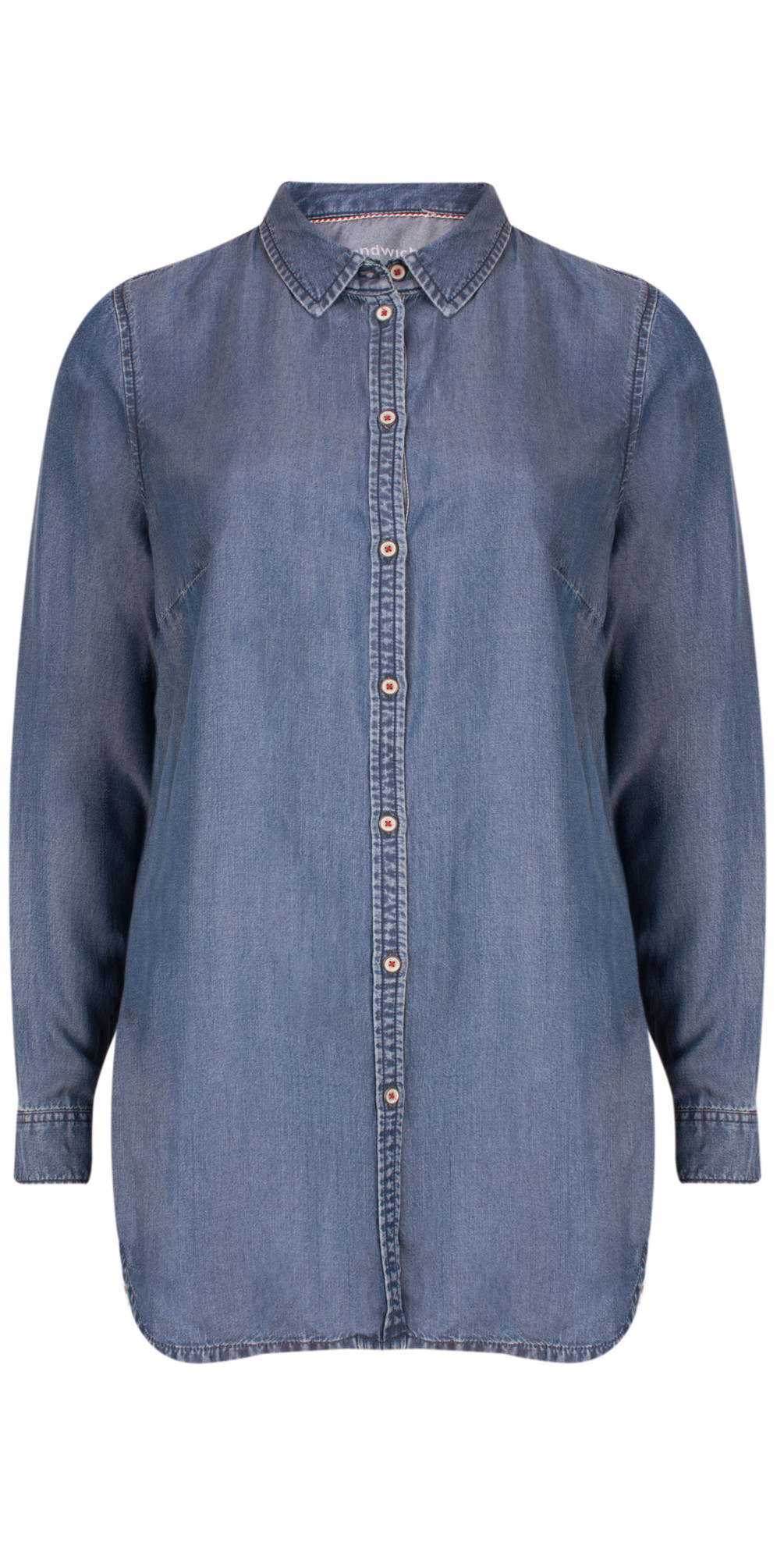 Denim Wash Long Sleeve Blouse main image