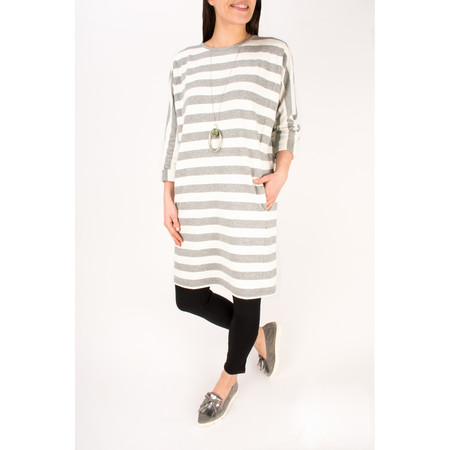 Masai Clothing Gertie Stripe Oversize Tunic - Grey