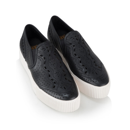 Ash Kingston Slip On Leather Trainer Shoe  - Black