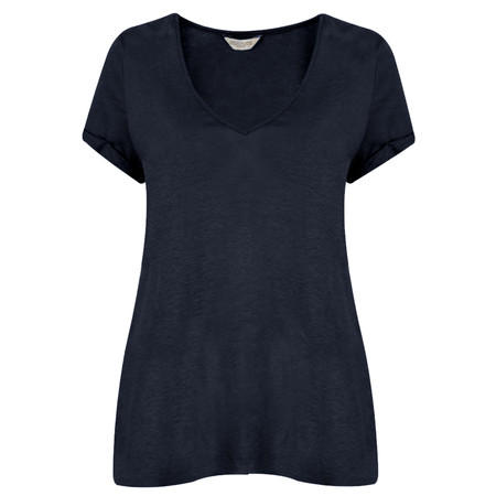Great Plains Lindy Linen V Neck Tee - Blue