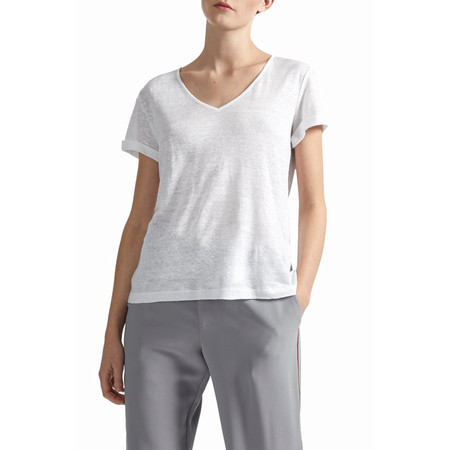 Great Plains Lindy Linen V Neck Tee - White