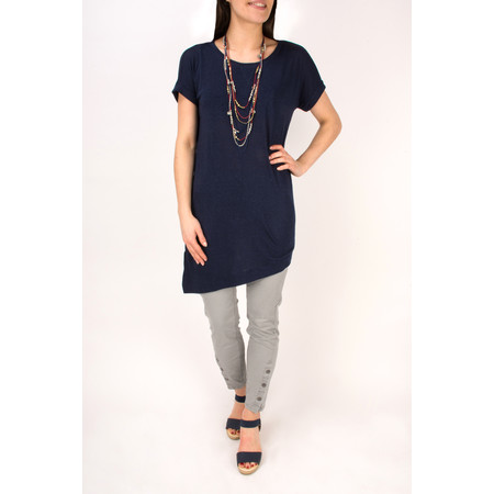 Sandwich Clothing Short Sleeve Tshirt with Asymmetric Hem - Blue