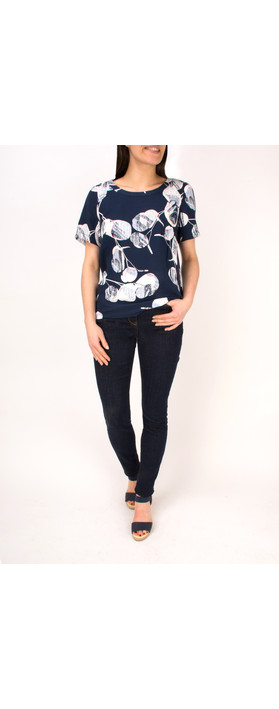 Sandwich Clothing Woven Floral Print Top Navy