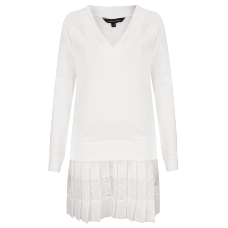 French Connection Eliza Jersey Long Sleeve VNK Dress - White