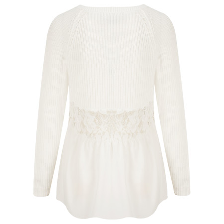 French Connection Mozart Hybrid Woven Back Jumper - White