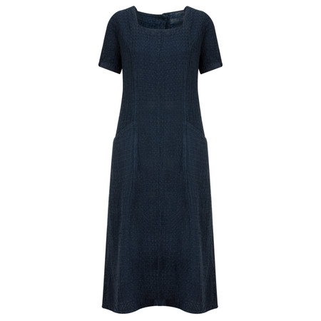 Grizas Linen Jacquard Cap Sleeve Dress with Pockets - Blue