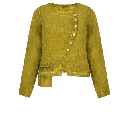Grizas Oliato Linen Short Button Detail Jacket - Green