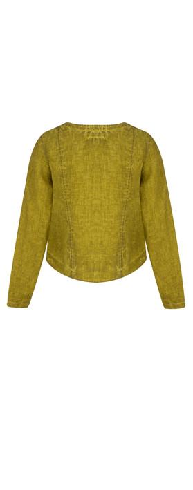 Grizas Oliato Linen Short Button Detail Jacket 329 Dirty Lime