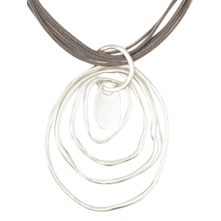 Eliza Gracious Charlie Large Ring Suede Necklace - Grey