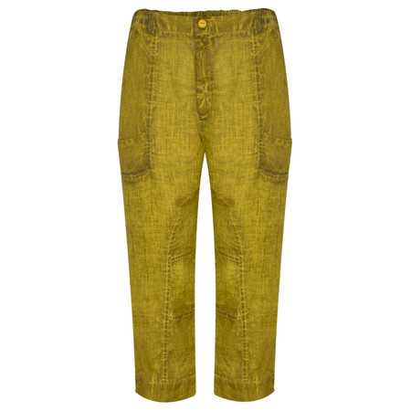 Grizas Linen Seam Detail Easyfit 7/8 Trouser - Green