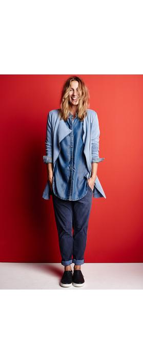 Sandwich Clothing Denim Wash Long Sleeve Blouse Blue Denim
