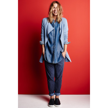Sandwich Clothing Denim Wash Long Sleeve Blouse - Blue