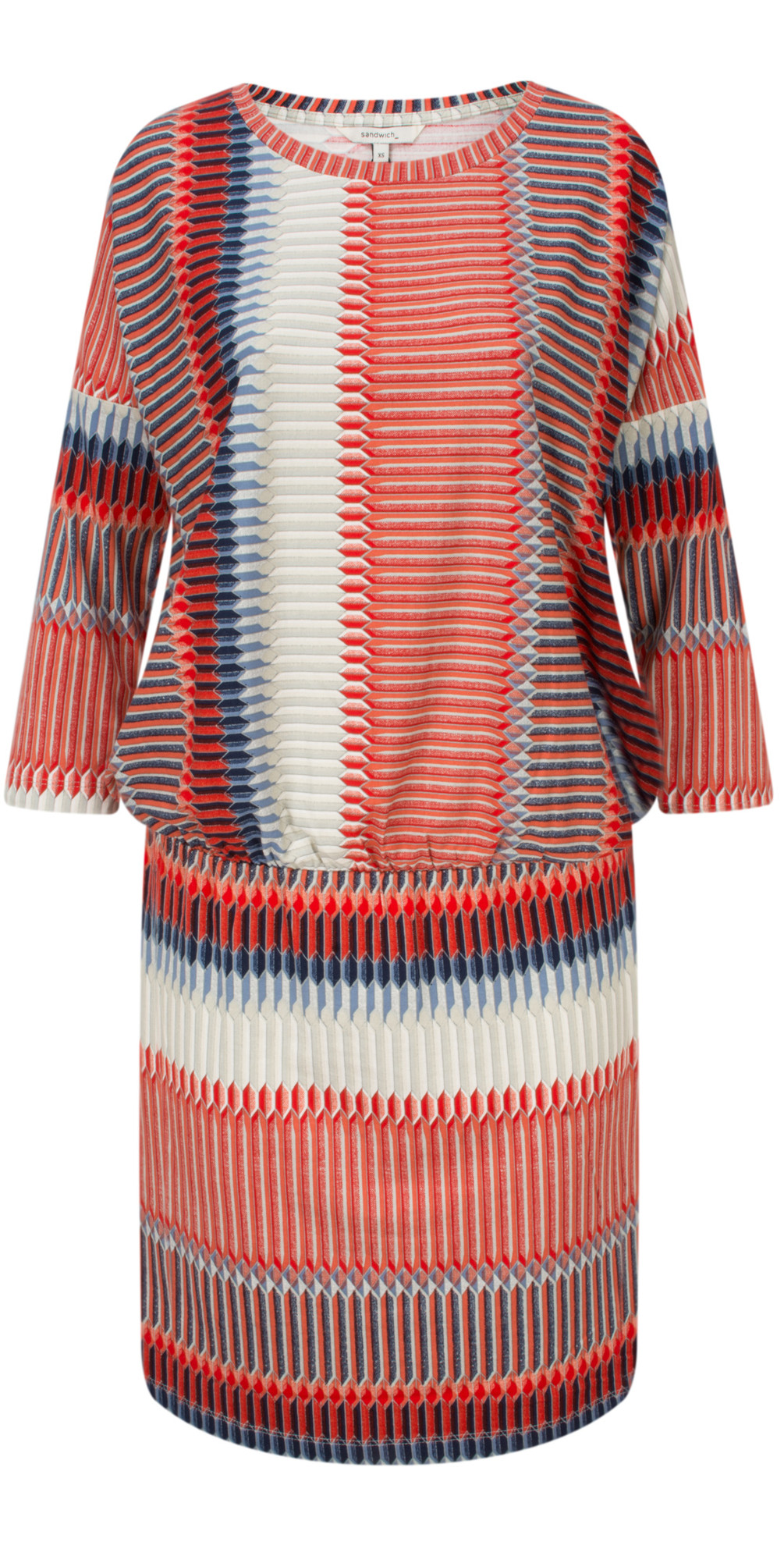 Striped Jersey Dress With Gathered Waist main image