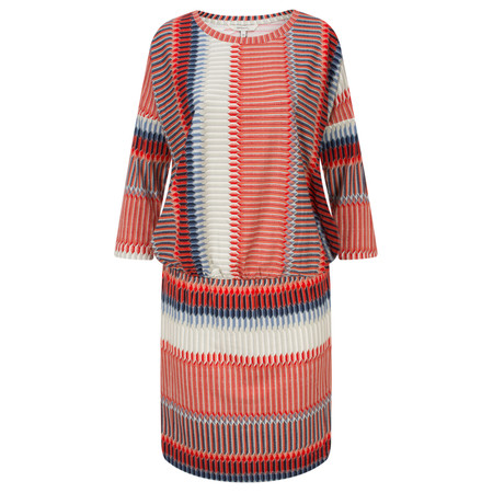 Sandwich Clothing Striped Sleeved Jersey Dress with Gathered Waist - Red
