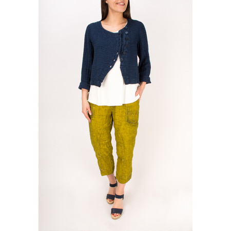 Grizas Linen Jacquard Short Jacket with Buttons - Blue