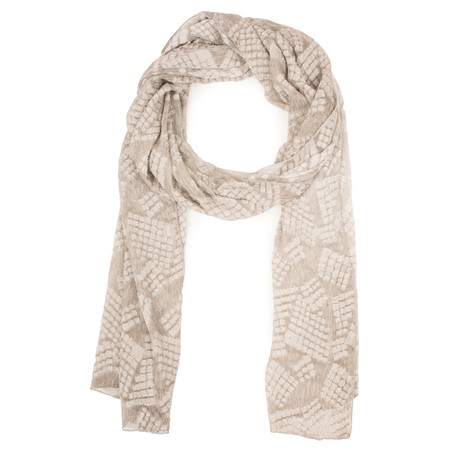 Grizas Silk Devore Check Scarf - Beige