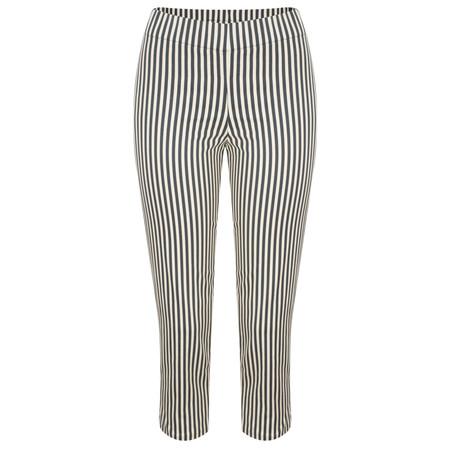 Myrine Basil Striped Tie Back Trouser - Ink Blue