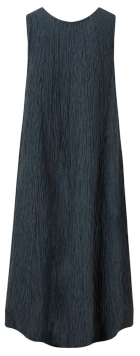 Grizas Silk Crinkle Long Dress 421 Navy