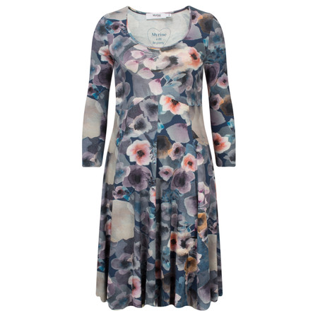 Myrine Rubis Marble Print Long Sleeve Dress - Blue
