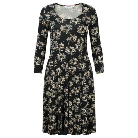 Myrine Pia Daisy Print Long Sleeve Dress - Black