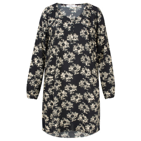 Myrine Diane Daisy Print Long Sleeve Tunic Dress - Black