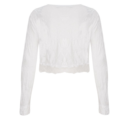 Lauren Vidal Vintage Collection Crinkle Cropped Cardigan - Blanc