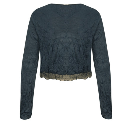 Lauren Vidal Vintage Collection Crinkle Cropped Cardigan - Blue