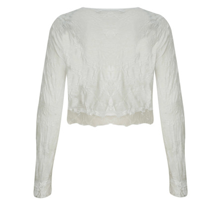 Lauren Vidal Vintage Collection Crinkle Cropped Cardigan - Off-white