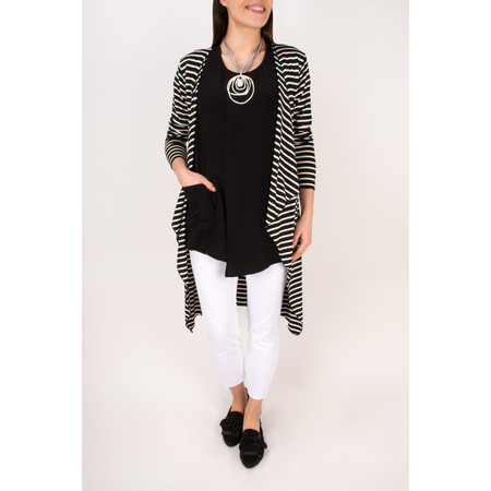 Masai Clothing Itony Stripe Cardigan  - Black