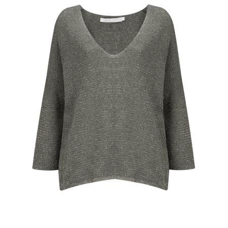 Lauren Vidal Ako Metallic Fleck V-Neck Top  - Blue