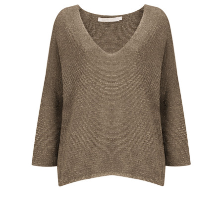 Lauren Vidal Ako Metallic Fleck V-Neck Top  - Brown