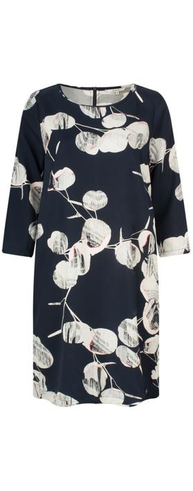 Sandwich Clothing Circle Print Sleeved Dress Navy