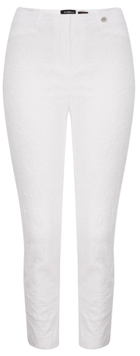 Robell Trousers Rose 09 Jacquard Slimfit 7/8 Trouser White