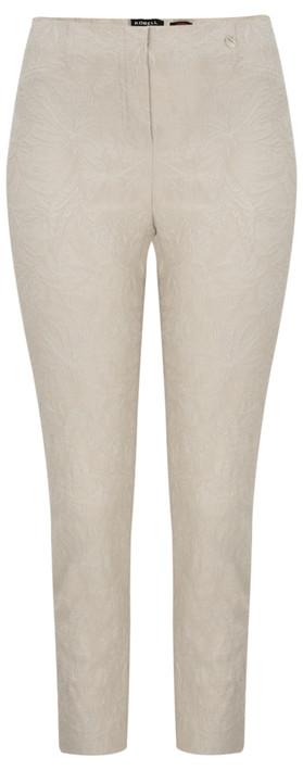 Robell Trousers Rose 09 Jacquard Slimfit 7/8 Trouser Beige