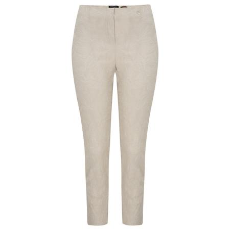 Robell  Rose 09 Jacquard Slimfit 7/8 Trouser - Beige