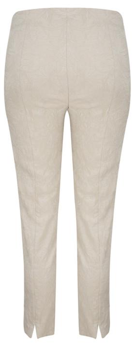 Robell Rose 09 Beige Ankle Length Jacquard Slimfit Trouser Beige