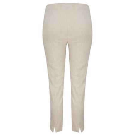 Robell Trousers Rose 09 Jacquard Slimfit 7/8 Trouser - Beige