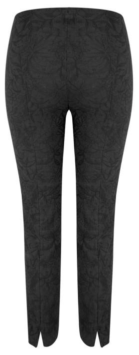 Robell Rose 09 Black Ankle Length Jacquard Slimfit Trouser Black