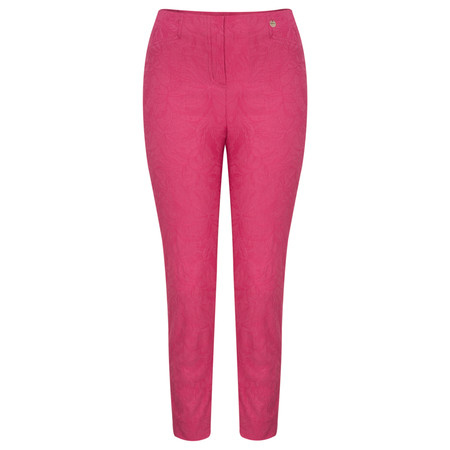 Robell Trousers Rose 09 Jacquard Slimfit 7/8 Trouser - Pink