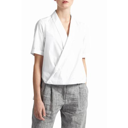 Great Plains Poppy Poplin Draped Shirt - White