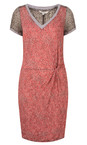 Sandwich Clothing Pink Rose Dotted Print Short Sleeve Crinkle Dress