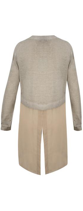 Sandwich Clothing Long Sleeve Linen Longline Cardigan Pebble Sand