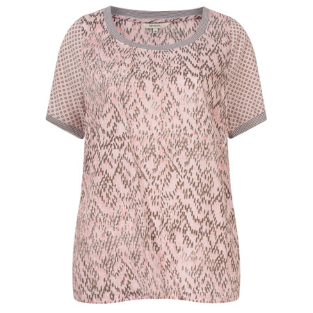 Sandwich Clothing Chevron Pattern Short Sleeve Blouse - Pink