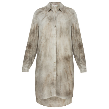 Sandwich Clothing Tie Dye Long Sleeve Shirt Dress - Beige