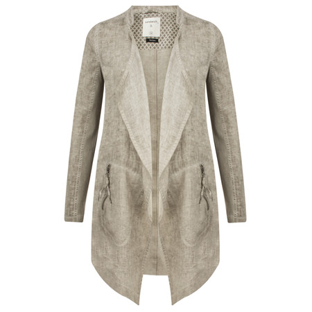 Sandwich Clothing Longline Open Front Linen Jacket - Beige